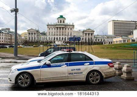Apr 17 2015 - Moscow Russia : Russian police car parking infront of government building