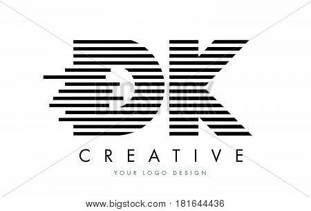 Dk D K Zebra Letter Logo Design With Black And White Stripes