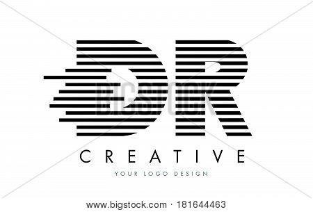 Dr D R Zebra Letter Logo Design With Black And White Stripes