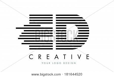 Ed E D Zebra Letter Logo Design With Black And White Stripes