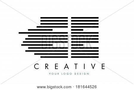 Ee E E Zebra Letter Logo Design With Black And White Stripes