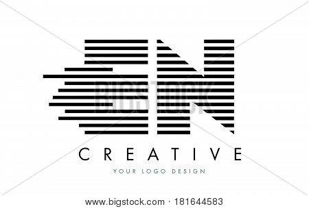 En E N Zebra Letter Logo Design With Black And White Stripes