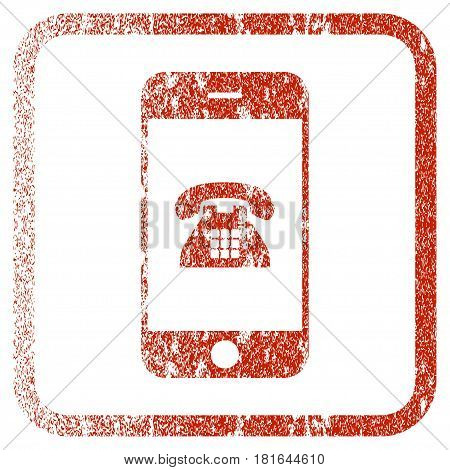 Mobile Phone textured icon for overlay watermark stamps. Red vectorized texture. Flat red vector symbol with dirty design inside rounded square frame. Framed rubber seal stamp imitation.