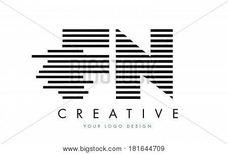 Fn F N Zebra Letter Logo Design With Black And White Stripes