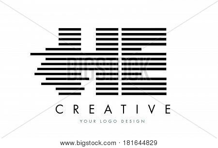 He H E Zebra Letter Logo Design With Black And White Stripes