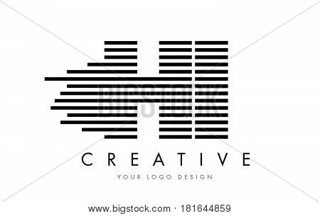 Hi H I Zebra Letter Logo Design With Black And White Stripes