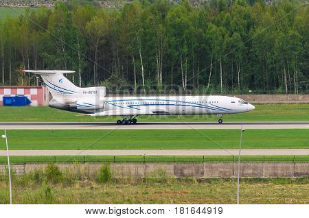 Tupolev Tu-154 Gazprom Airlines, Airport Pulkovo, Russia Saint-petersburg August 2016