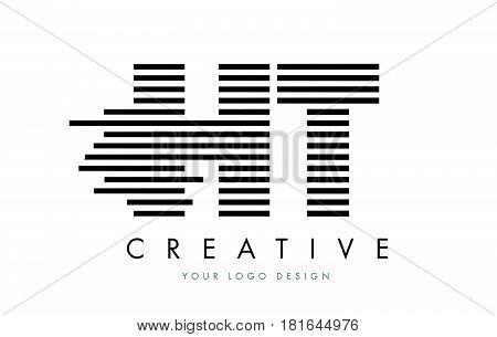 Ht H T Zebra Letter Logo Design With Black And White Stripes