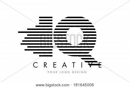 Iq I Q Zebra Letter Logo Design With Black And White Stripes