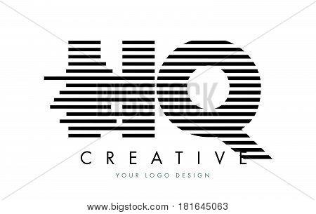 Hq H Q Zebra Letter Logo Design With Black And White Stripes