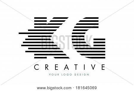 Kg K G Zebra Letter Logo Design With Black And White Stripes