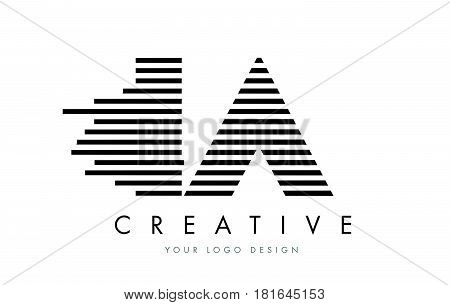Ia I A Zebra Letter Logo Design With Black And White Stripes