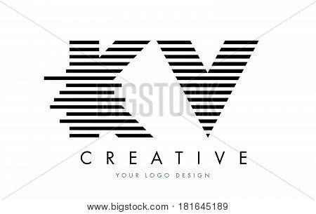 Kv K V Zebra Letter Logo Design With Black And White Stripes