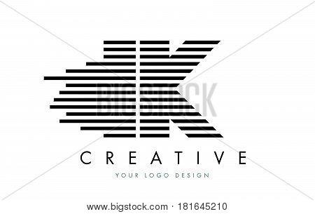 Ik I K Zebra Letter Logo Design With Black And White Stripes