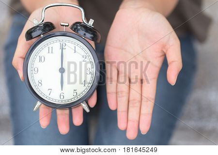 time to pay money or bill clock with open hand to ask salary