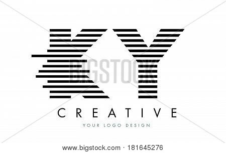 Ky K Y Zebra Letter Logo Design With Black And White Stripes