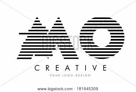 Mo M O Zebra Letter Logo Design With Black And White Stripes