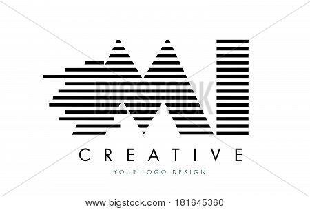 Mi M I Zebra Letter Logo Design With Black And White Stripes