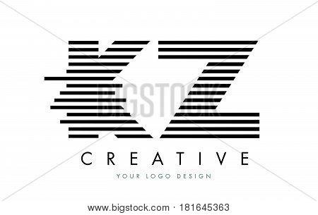 Kz K Z Zebra Letter Logo Design With Black And White Stripes