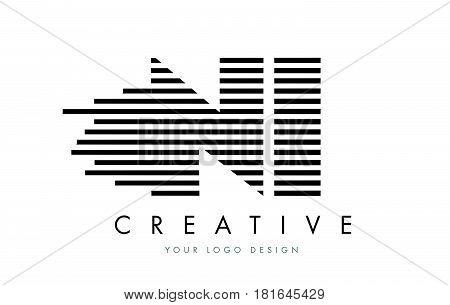Ni N I Zebra Letter Logo Design With Black And White Stripes