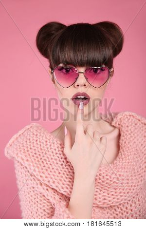 Beauty Wow. Fashion Surprise Teen Girl Model. Brunette In Heart Sunglasses With Matte Lips And Hairs