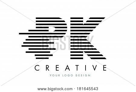 Pk P K Zebra Letter Logo Design With Black And White Stripes