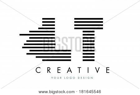 Lt L T Zebra Letter Logo Design With Black And White Stripes