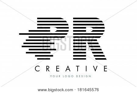 Pr P R Zebra Letter Logo Design With Black And White Stripes