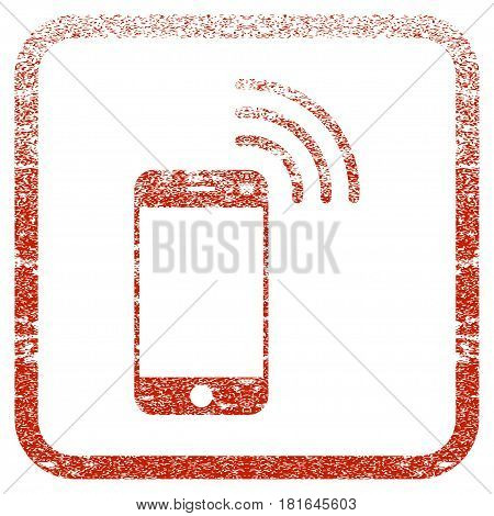Smartphone Call textured icon for overlay watermark stamps. Red vectorized texture. Flat red vector symbol with dirty design inside rounded square frame. Framed rubber seal stamp imitation.