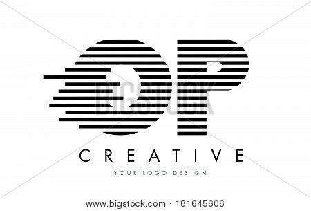Op O P Zebra Letter Logo Design With Black And White Stripes