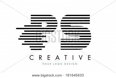Ps P S Zebra Letter Logo Design With Black And White Stripes