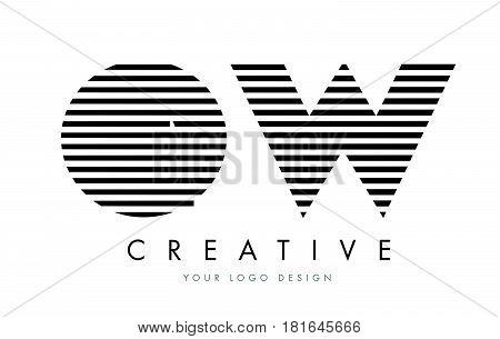 Ow O W Zebra Letter Logo Design With Black And White Stripes