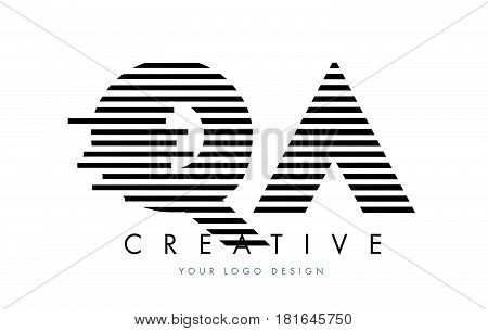 Qa Q A Zebra Letter Logo Design With Black And White Stripes