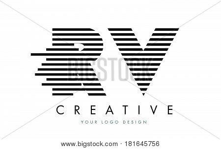 Rv R V Zebra Letter Logo Design With Black And White Stripes