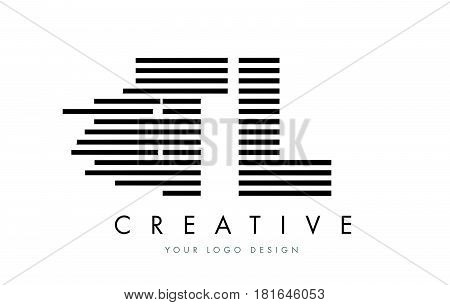 Tl T L Zebra Letter Logo Design With Black And White Stripes
