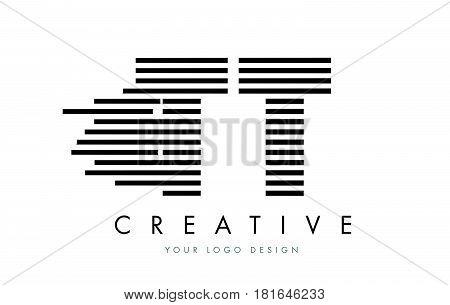 Tt T Zebra Letter Logo Design With Black And White Stripes