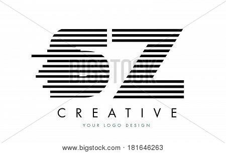 Sz S Z Zebra Letter Logo Design With Black And White Stripes
