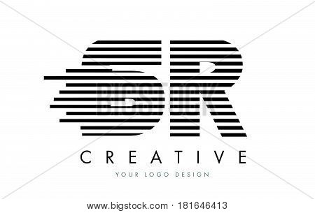 Sr S R Zebra Letter Logo Design With Black And White Stripes