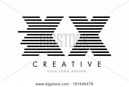 Xx X X Zebra Letter Logo Design With Black And White Stripes