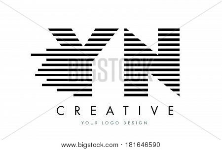 Yn Y N Zebra Letter Logo Design With Black And White Stripes