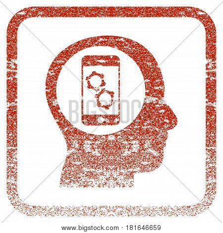 Smartphone Mind Control textured icon for overlay watermark stamps. Red vectorized texture. Flat red vector symbol with dust design inside rounded square frame. Framed rubber seal stamp imitation.