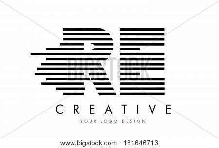 Re R E Zebra Letter Logo Design With Black And White Stripes