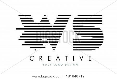Ws W S Zebra Letter Logo Design With Black And White Stripes