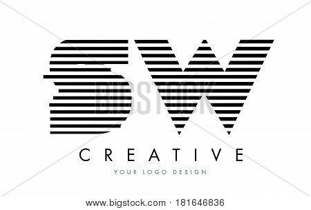 Sw S W Zebra Letter Logo Design With Black And White Stripes