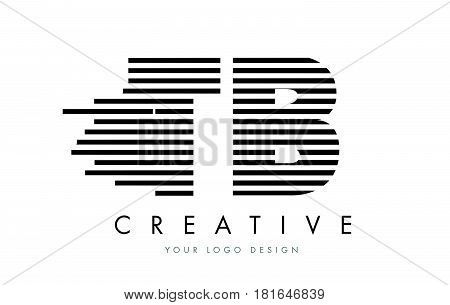 Tb T B Zebra Letter Logo Design With Black And White Stripes