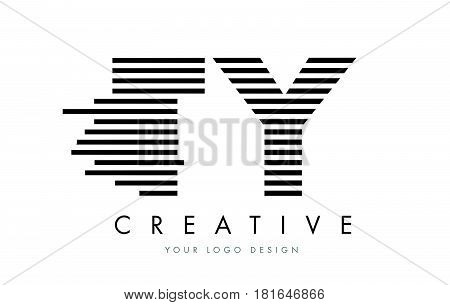Ty T Y Zebra Letter Logo Design With Black And White Stripes