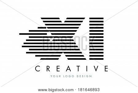 Xi X I Zebra Letter Logo Design With Black And White Stripes