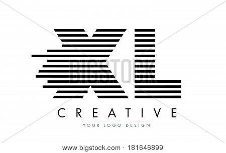 Xl X L Zebra Letter Logo Design With Black And White Stripes