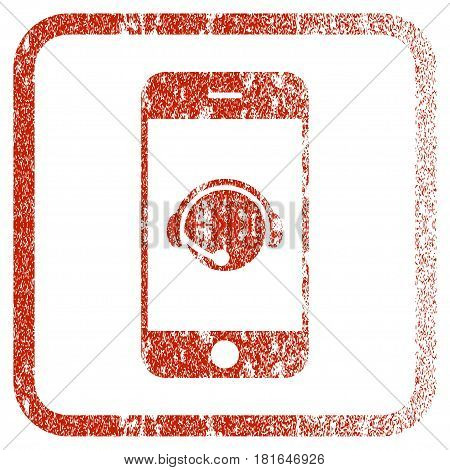 Smartphone Operator Contact Head textured icon for overlay watermark stamps. Red vectorized texture. Flat red vector symbol with dirty design inside rounded square frame.