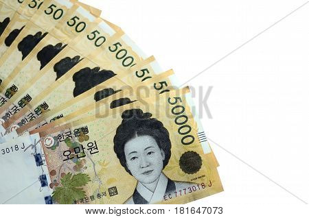 South Korean Currency 50000 Korean Won On White Background With Copy Space